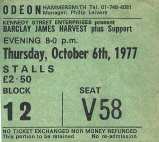 Ticket for Barclay James Harvest Hammersmith Odeon concert, October 1977 [Kim Roberts]