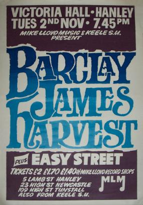 Poster for Hanley concert, November 1976