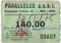 Ticket for Liege concert, March 1975
