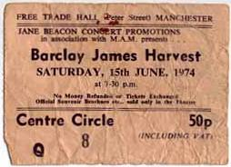 Ticket for Manchester Free Trade Hall 1974