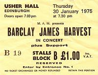 Ticket for Edinburgh concert, January 1975