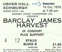 Ticket for Edinburgh concert, October 1975