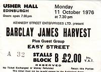 Ticket for Edinburgh concert, October 1976