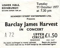 Ticket for Edinburgh concert, October 1977