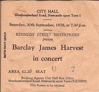 Ticket for Newcastle City Hall concert, September 1978 [Ian Alexander]