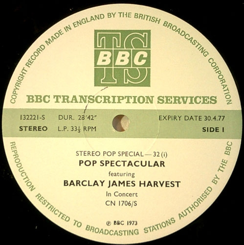 1972 BBC In Concert transcription disc