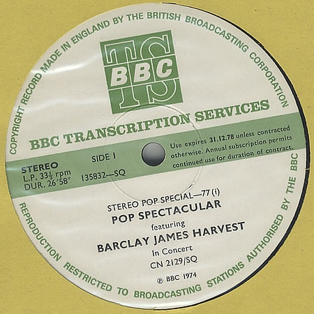 1974 BBC In Concert transcription disc